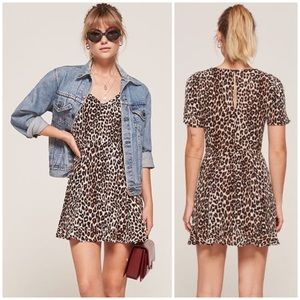 Reformation Gabriella Leopard Flare Dress